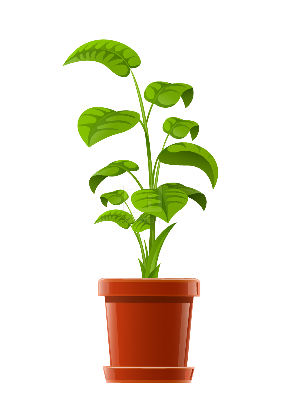 House garden plant in flower pot vector watermark free image