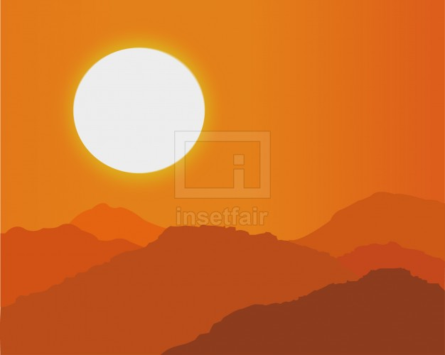 Shining sun in orange sky vector illustration AI source file free download
