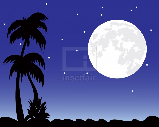 Large moon behind the trees in night sky vector illustration AI source file free download
