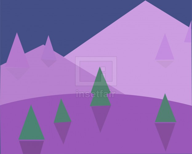 Purple Mountain and Trees Paper Cut Vector Drawing