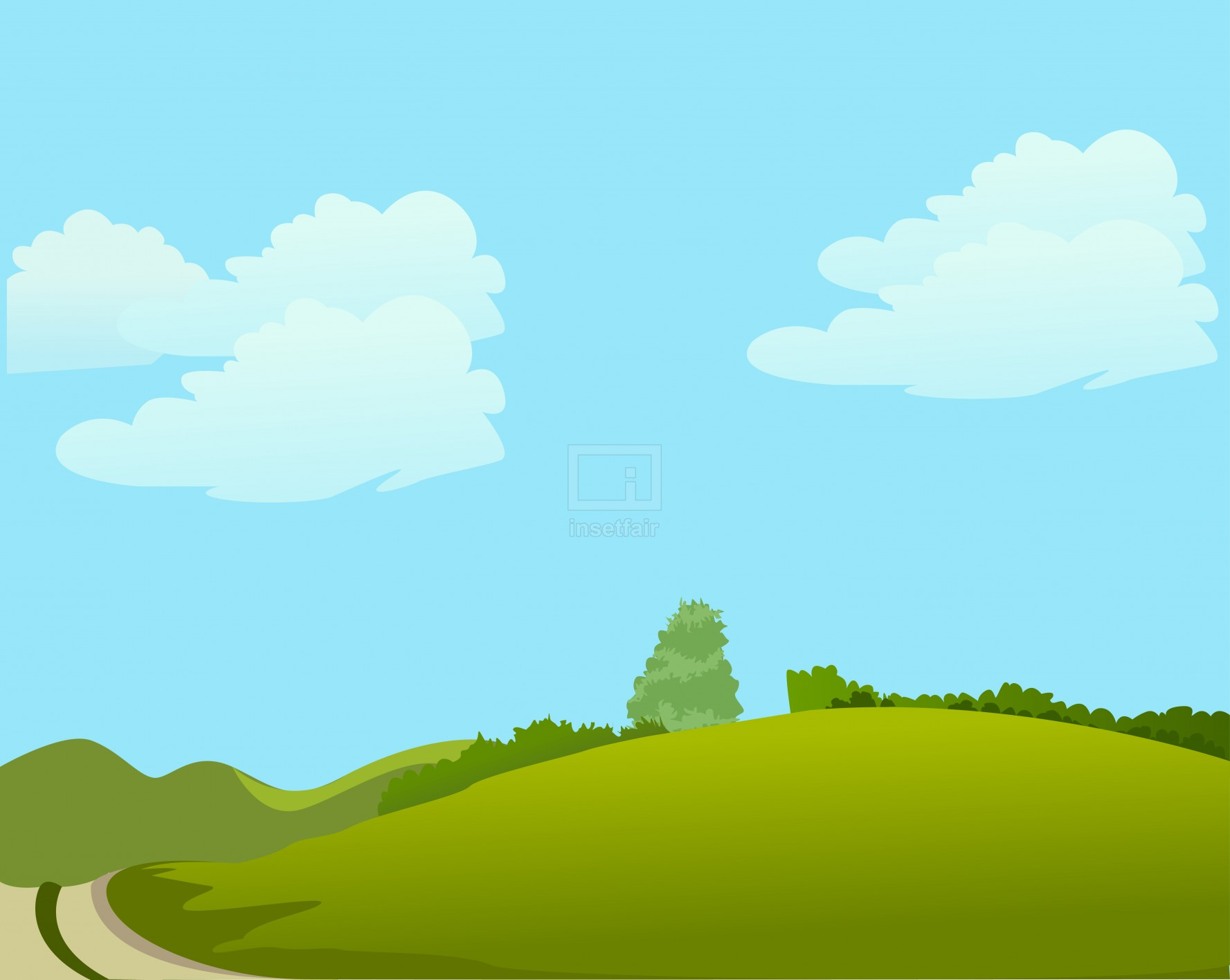 Hot summer season blue sky vector illustration AI source file free download
