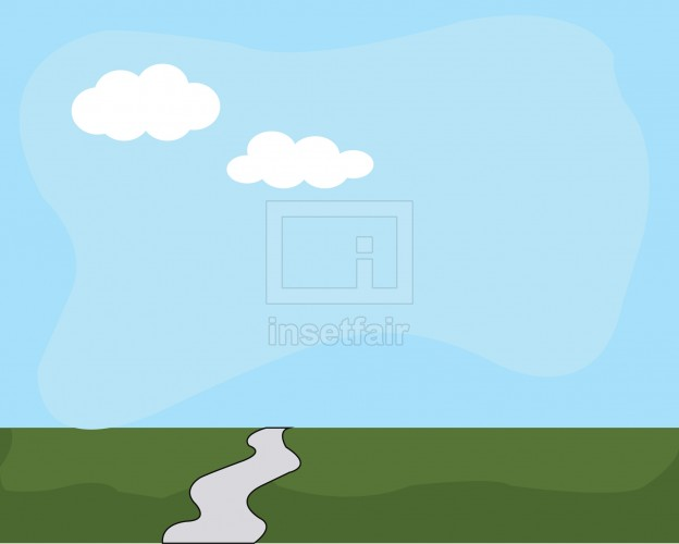 Single pathway on a green horizon with a blue sky background vector