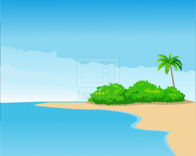 Seashore with tree and grass vector illustration AI source file free download